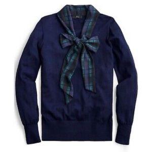 J Crew Merino Mock Neck Sweater w Tartan Scarf Tie